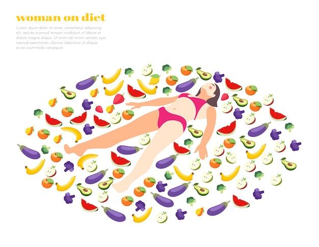 Mujer en dieta isométrica con personaje femenino en círculo de frutas