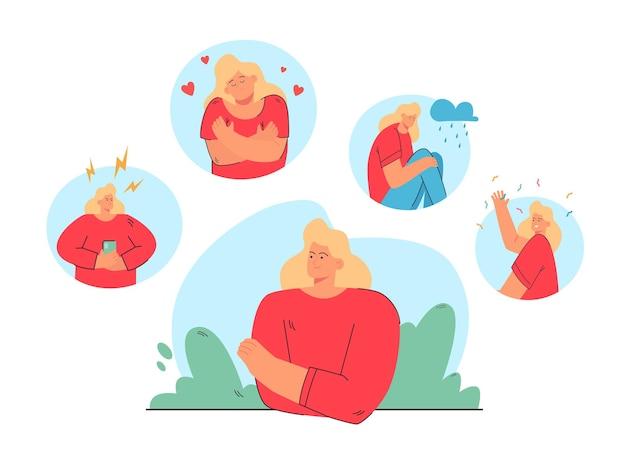 Mujer en diferentes estados de ánimo y estados ilustración
