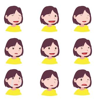 Mujer y diferentes expresiones faciales para hacer diseño de movimiento.