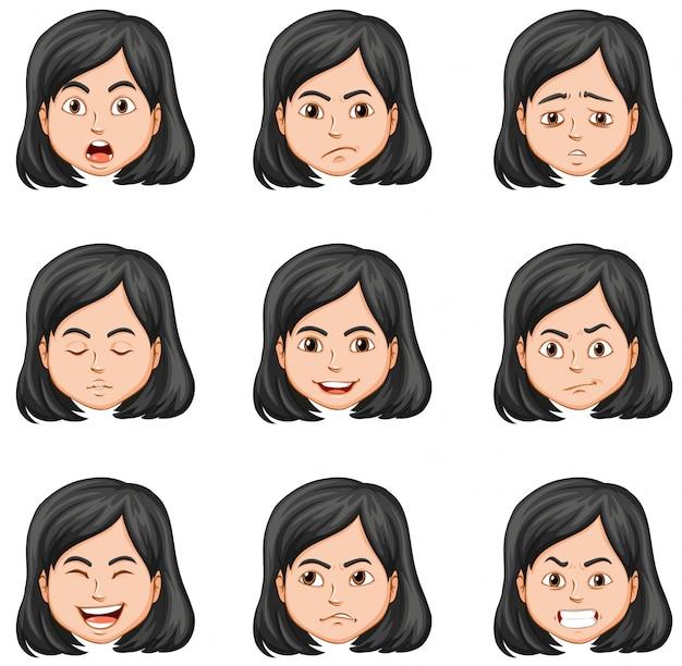 Mujer y diferentes expresiones faciales.