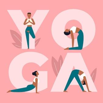 Mujer en diferentes posiciones de yoga