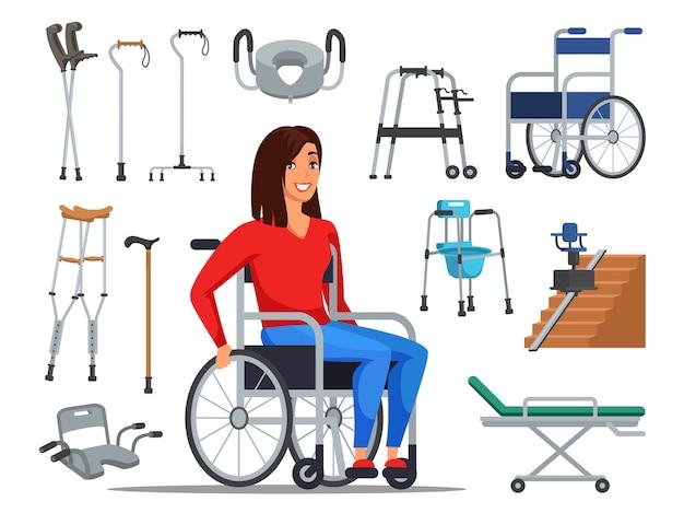 Mujer discapacitada de dibujos animados sentada en silla de ruedas y diferentes ayudas para la movilidad.