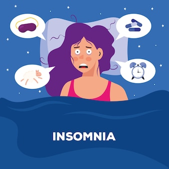 Mujer con diseño de insomnio y burbujas, tema de sueño y noche.