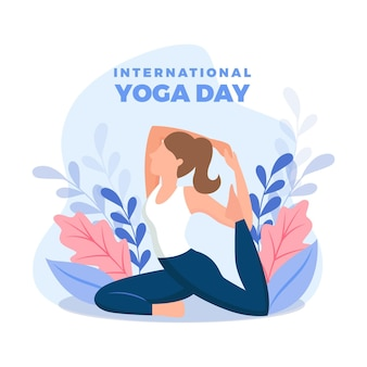 Mujer de diseño plano haciendo yoga
