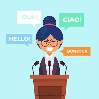 Mujer de diseño plano con palabras en diferentes idiomas