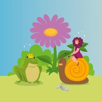 Mujer disfrazada de flores con animales en escena de cuento de hadas