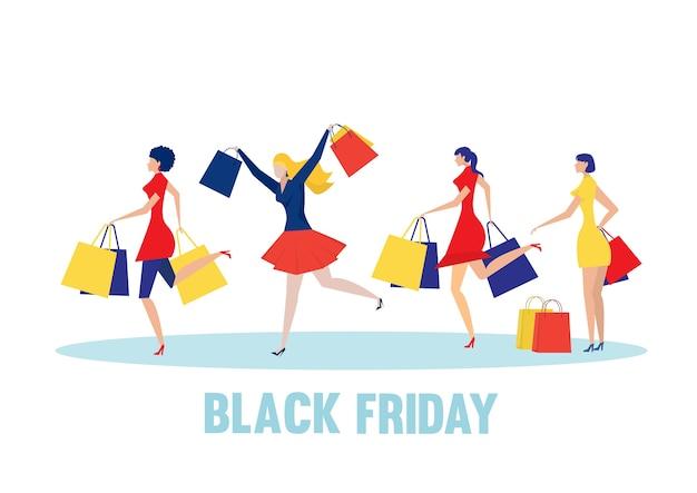 Mujer disfruta en la tienda online el viernes negro. estilo de diseño plano.