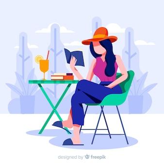 Mujer disfrutando de su tiempo libre.