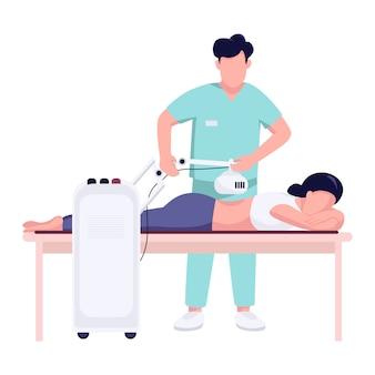 Mujer dolor de espalda tratamiento color plano vector sin rostro carácter. fisioterapia de lesión espinal con equipo médico de ortopedia aislado ilustración de dibujos animados