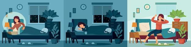 Mujer duerme en la habitación de la cama en casa. feliz personaje femenino durmiendo en la cama por la noche y despertarse por la mañana.