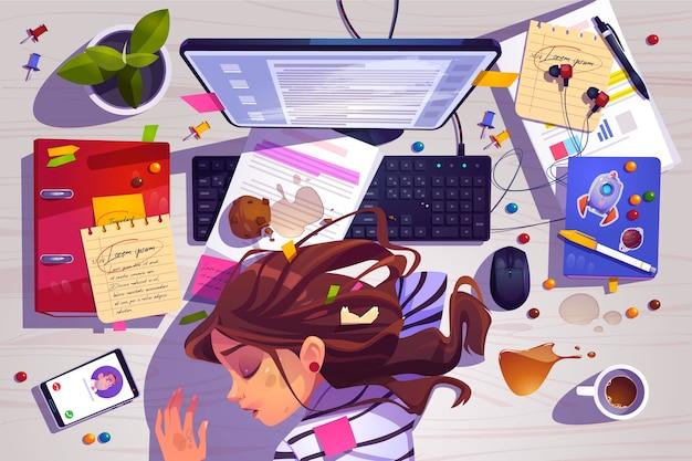 Mujer duerme en la vista superior del lugar de trabajo, niña cansada acostada en el escritorio de oficina desordenado con basura