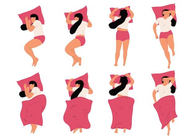 Mujer durmiendo en la cama en diferentes posiciones vector personajes de dibujos animados vista superior conjunto aislado.