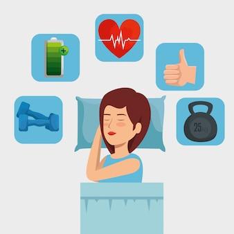 Mujer durmiendo con latidos del corazón y pesas con batería