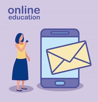 Mujer con educación en línea de teléfonos inteligentes