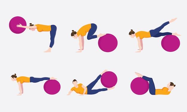 Mujer ejercicio bola movimiento conjunto conjunto