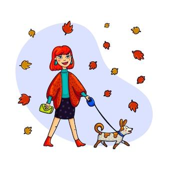 Mujer elegante caminando con un perro.