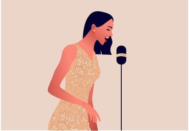 Una mujer elegante cantando en un micrófono, mujer hermosa en traje de fiesta, jazz o música pop, ilustración plana