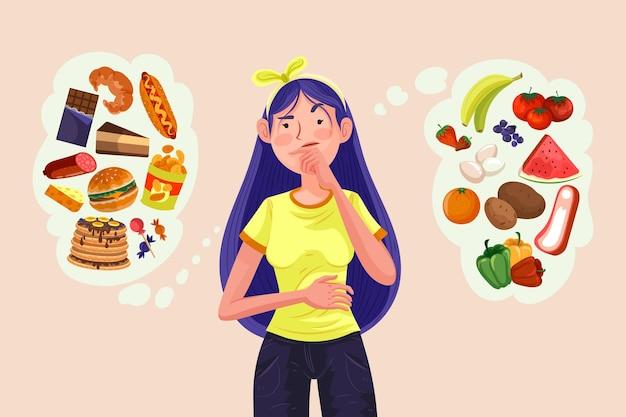 Mujer eligiendo entre alimentos saludables o no saludables