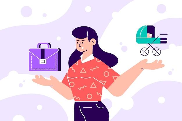 Mujer eligiendo entre responsabilidades familiares e ilustración profesional