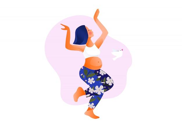 Mujer embarazada bailando. activo bien equipado personaje femenino embarazada. feliz embarazo yoga y deporte para embarazadas. caricatura plana