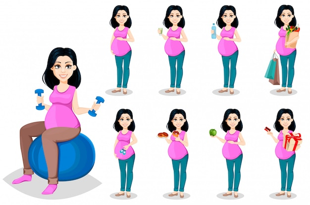 Mujer embarazada. bella dama conjunto