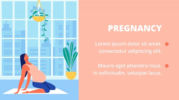 Mujer embarazada en camisa rosa se sienta en el piso. yoga.