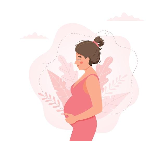 Mujer embarazada, concepto de estilo de dibujos animados lindo