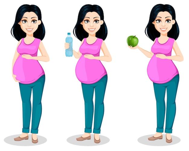 Mujer embarazada. la dama se prepara para ser madre