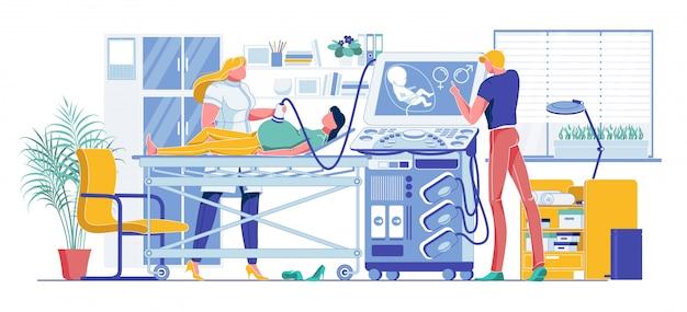 Mujer embarazada en dibujos animados de examen de ultrasonido