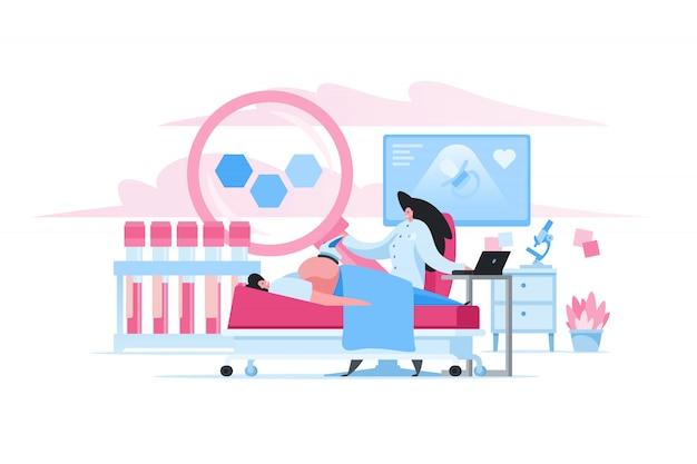 Mujer embarazada durante el examen ultrasónico en clínica. ilustración de personas de dibujos animados plana