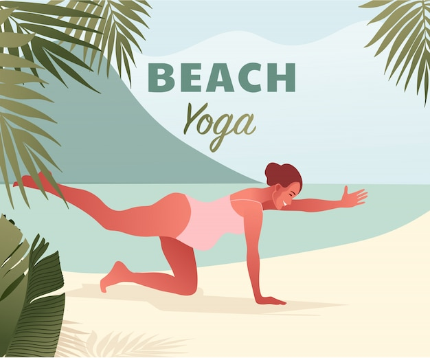 Mujer embarazada feliz haciendo yoga en la playa. retiro de verano.