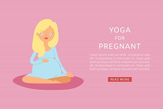 Mujer embarazada haciendo yoga en un banner de ilustración de estera de yoga. linda jovencita en postura de loto y relajación de yoga embarazo. yoga prenatal