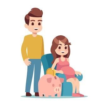 Mujer embarazada, hombre y hucha