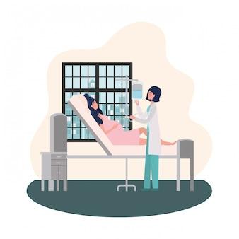 Mujer embarazada y médico aislados