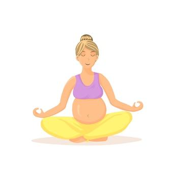 Mujer embarazada meditando ilustración de dibujos animados