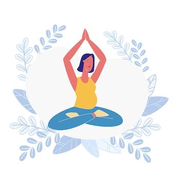 Mujer embarazada meditando plana