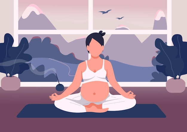 Mujer embarazada meditar color plano. fitness para el embarazo en casa. chica relajarse en posición de loto con vientre. personajes de dibujos animados 2d de madre joven con ventana en el fondo