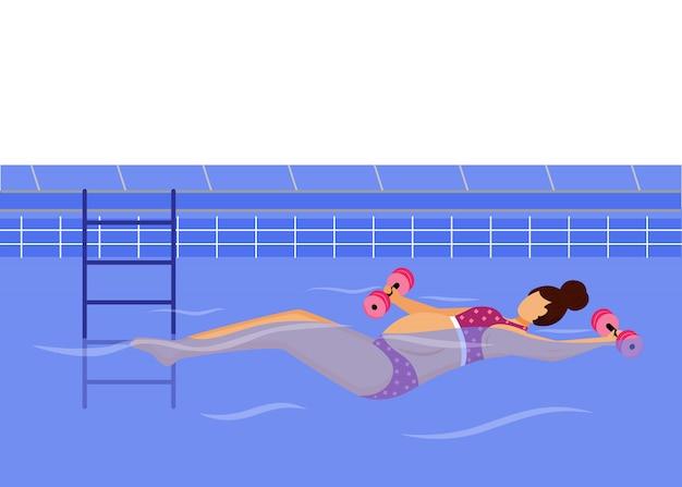 Mujer embarazada nadando en la piscina ilustración plana. estilo de vida saludable. joven madre en bikini haciendo ejercicio en el agua con pesas personaje de dibujos animados sobre fondo blanco.