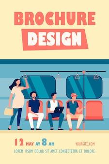 Mujer embarazada de pie junto a la plantilla de volante de pasajeros de tren subterráneo descortés