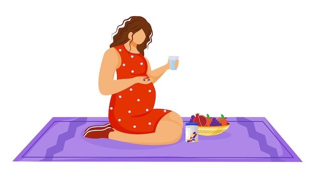Mujer embarazada tomando medicamentos ilustración vectorial plana. cuidado de la salud. nutrición saludable. joven caucásica con tabletas de vitamina en personaje de dibujos animados de embarazo
