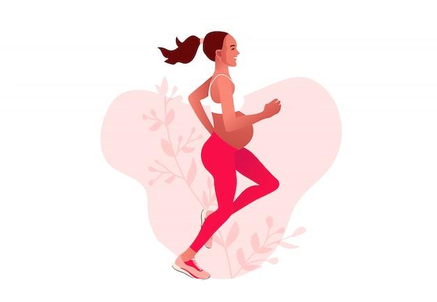 Mujer embarazada trotar. activo bien equipado personaje femenino embarazado. feliz embarazo