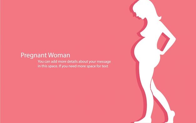 Mujer embarazada con el vector de fondo rosa