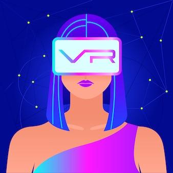 Mujer emocionada con casco vr para simulación de espacio