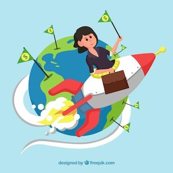 Mujer emprendedora con un cohete