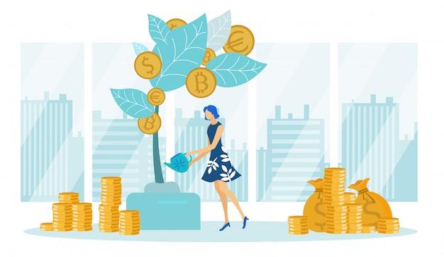 Mujer empresaria watering money tree, finanzas.