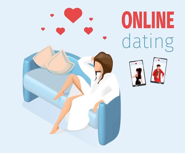Mujer enamorada sentada en el sofá ilustración vectorial