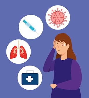 Mujer enferma de coronavirus 2019 ilustración ncov