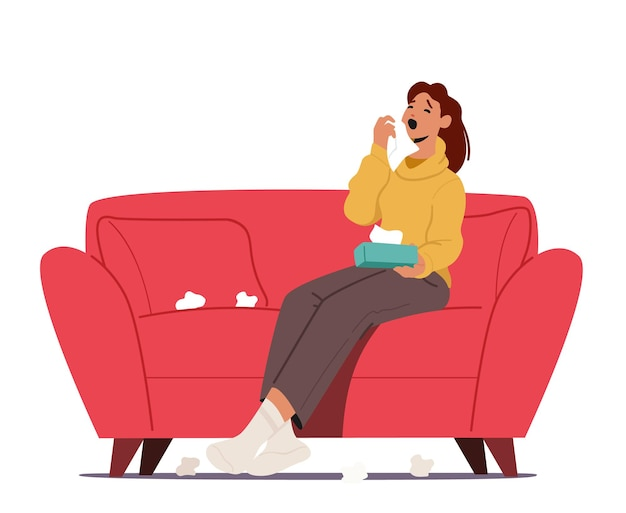 Mujer enferma estornudando con toallitas alrededor