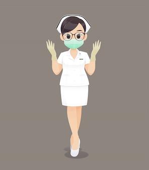 Mujer de enfermería con guantes médicos y una máscara de salud, un médico de dibujos animados o una enfermera con gafas negras en un uniforme blanco