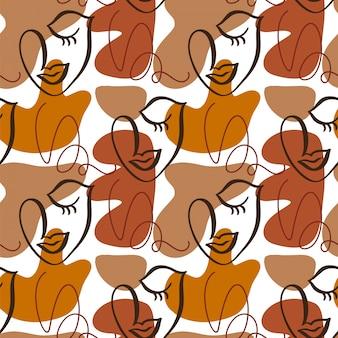 La mujer se enfrenta a patrones sin fisuras caras abstractas modernas.